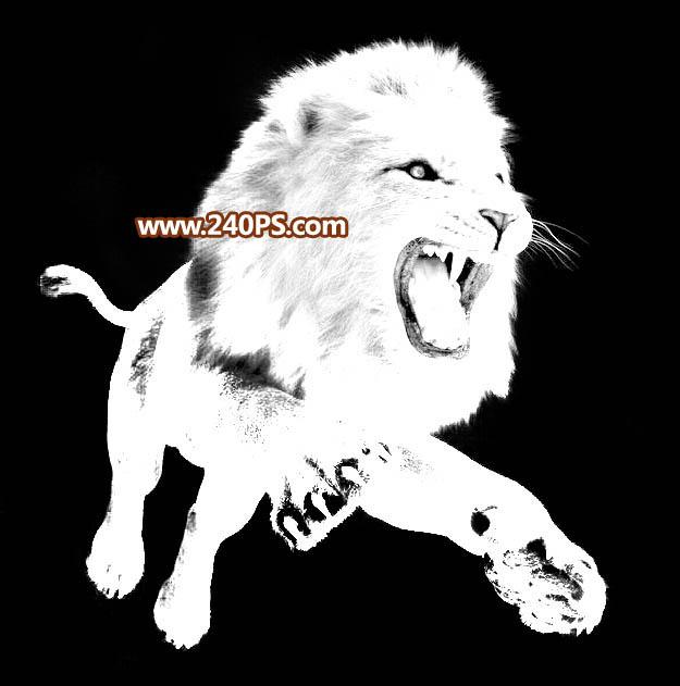 photoshop使用通道完美抠出跳跃起的雄狮图画