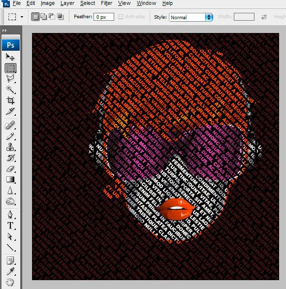 PS制造层次分明的五颜六色文字女人头像图片